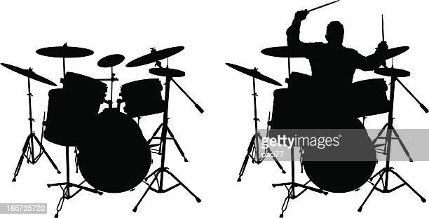 drum and drummer (vector illustration) - drum percussion instrument stock illustrations, clip art, cartoons, & icons