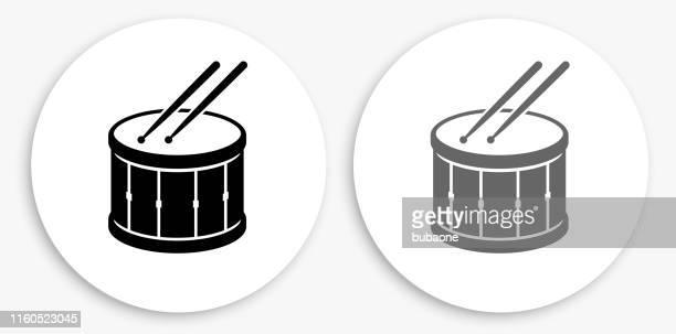 illustrations, cliparts, dessins animés et icônes de icône ronde noire et blanche de tambour et de tambour - tambour et batterie