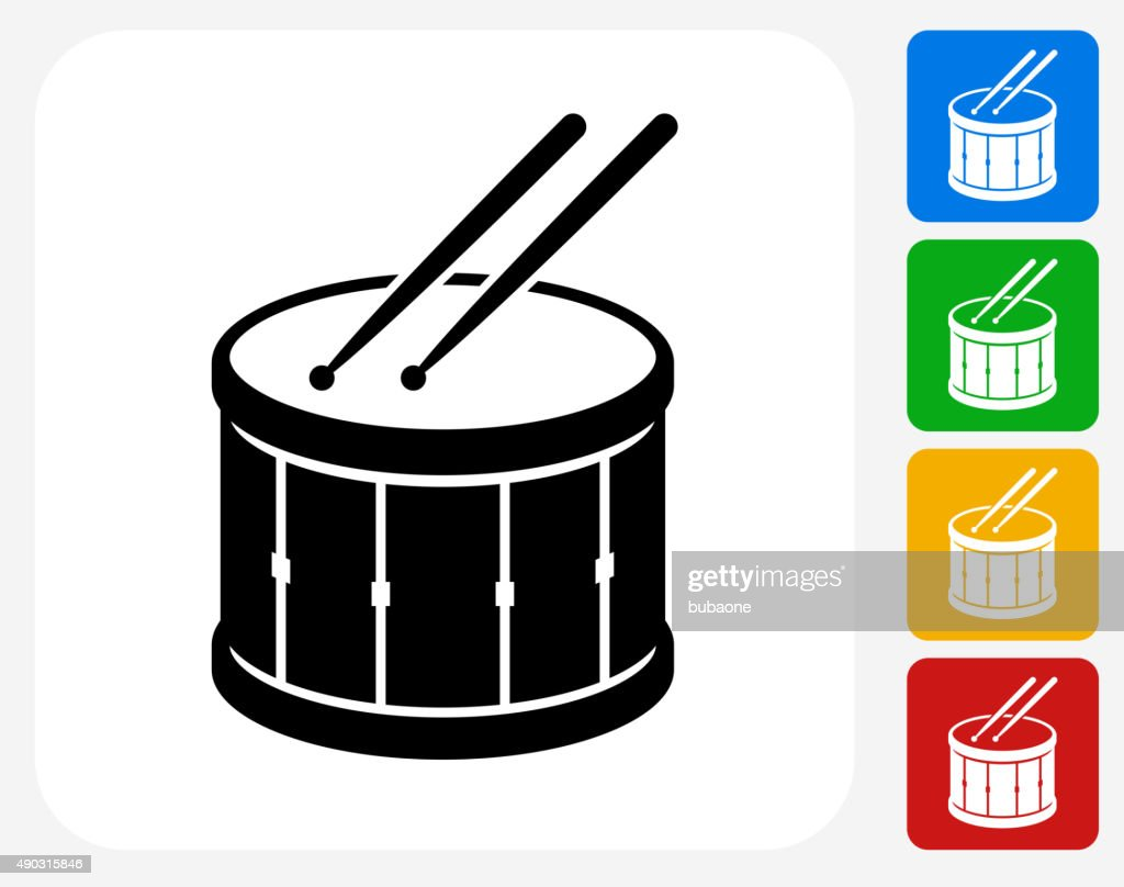 Drum and Drumsticks Icon Flat Graphic Design