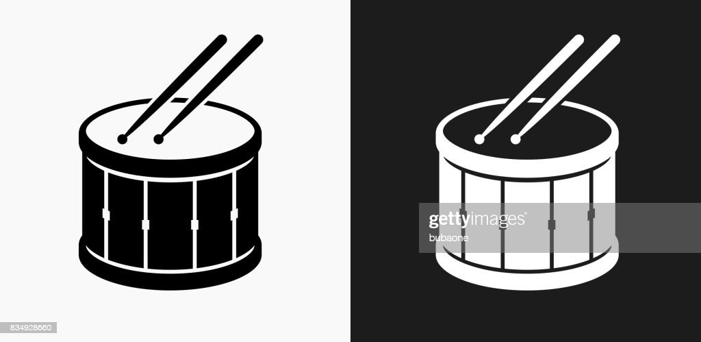 Drum and Drumsticks Icon on Black and White Vector Backgrounds