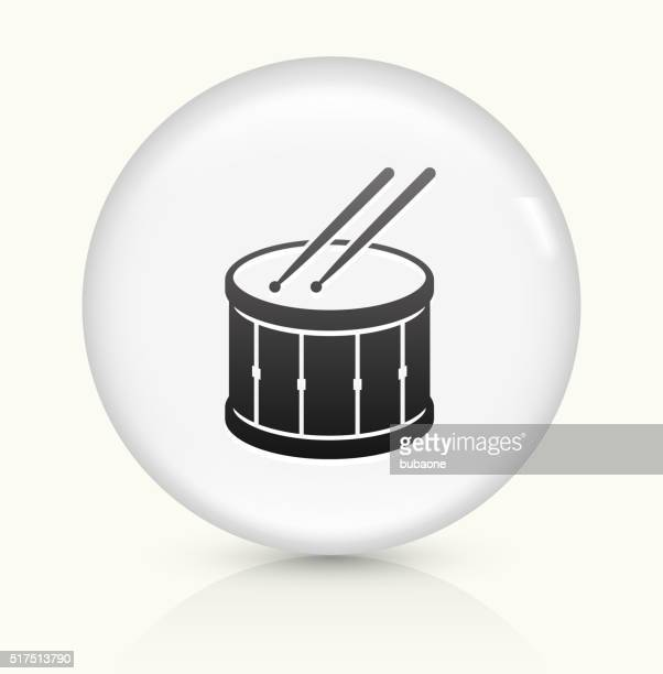 drum and drumsticks icon on white round vector button - drum percussion instrument stock illustrations, clip art, cartoons, & icons