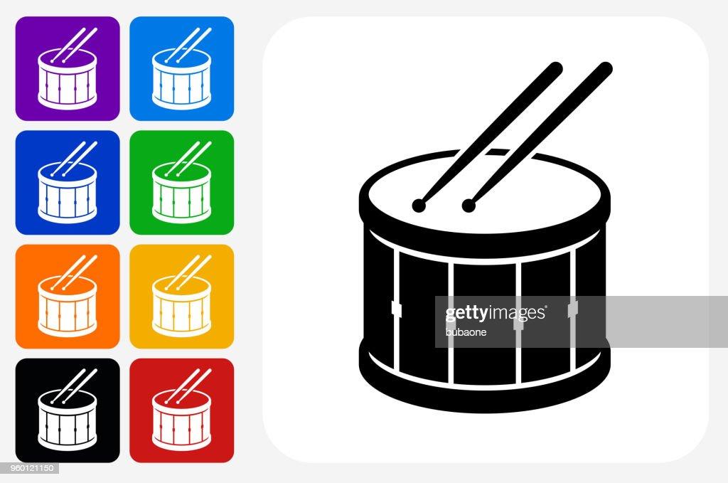 Trommel und Drumsticks Symbol Square Buttonset : Stock-Illustration