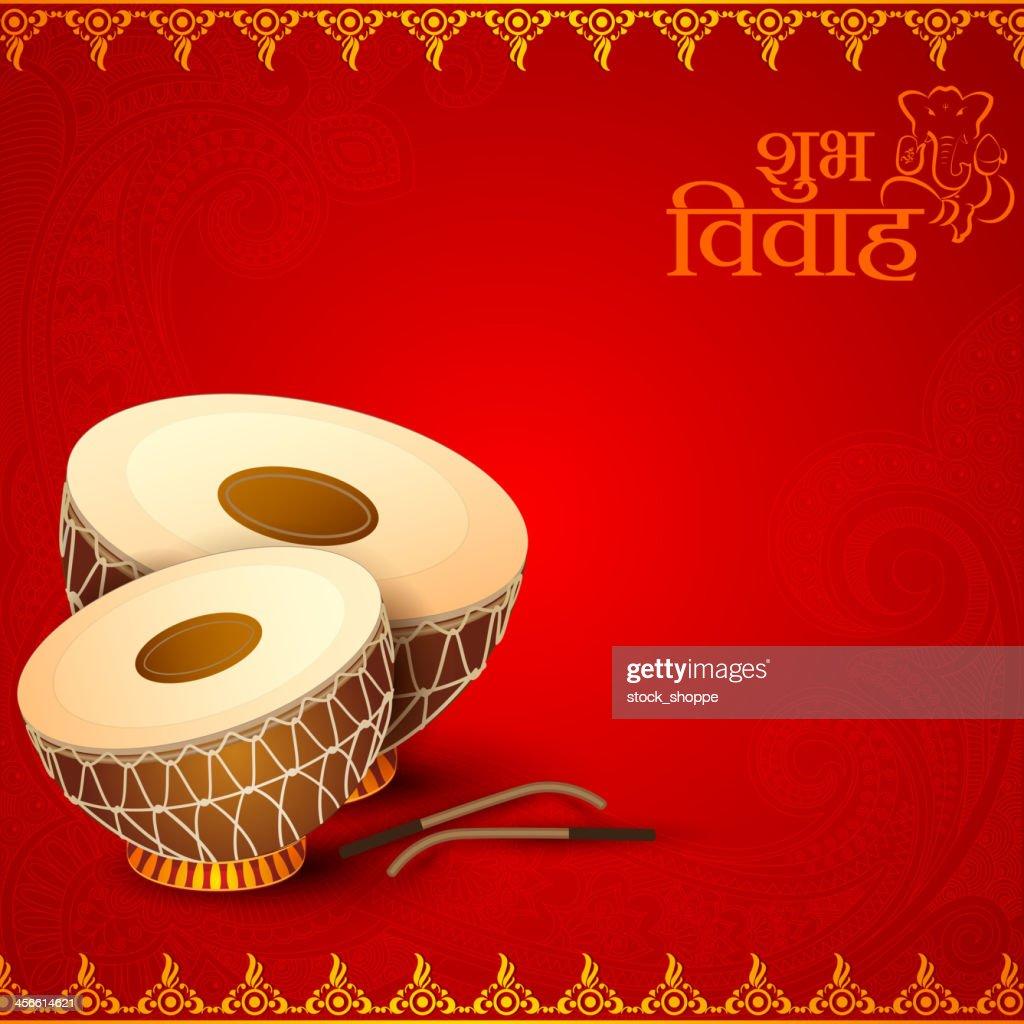 Drum in Indian Wedding Invitation Card