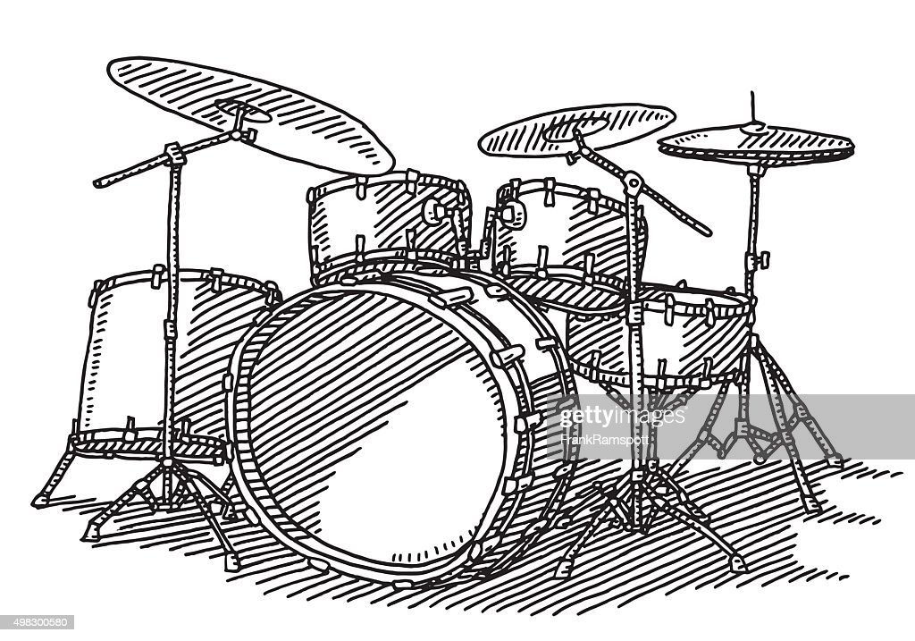 Drum Kit Music Instrument Drawing Vector Art