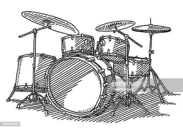 drum kit music instrument drawing - drum percussion instrument stock illustrations, clip art, cartoons, & icons