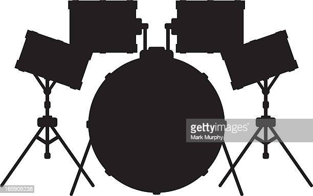 drum kit silhouette - snare drum stock illustrations, clip art, cartoons, & icons