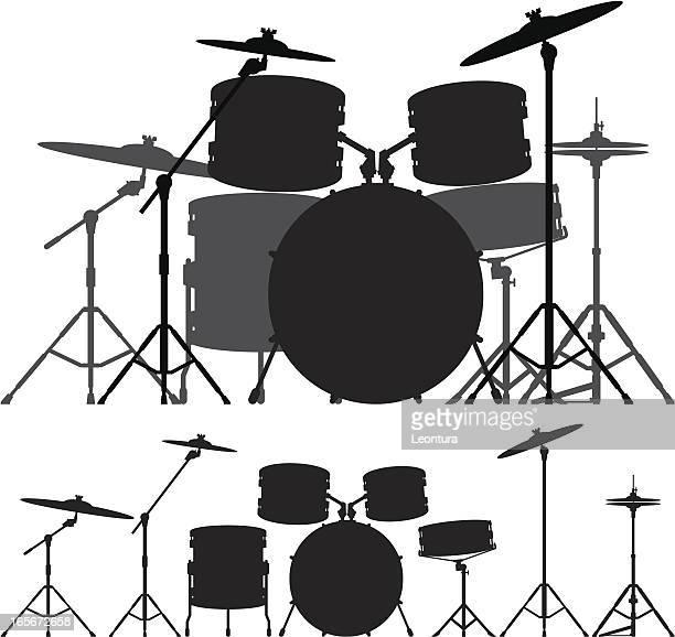 drum kit - drum percussion instrument stock illustrations, clip art, cartoons, & icons