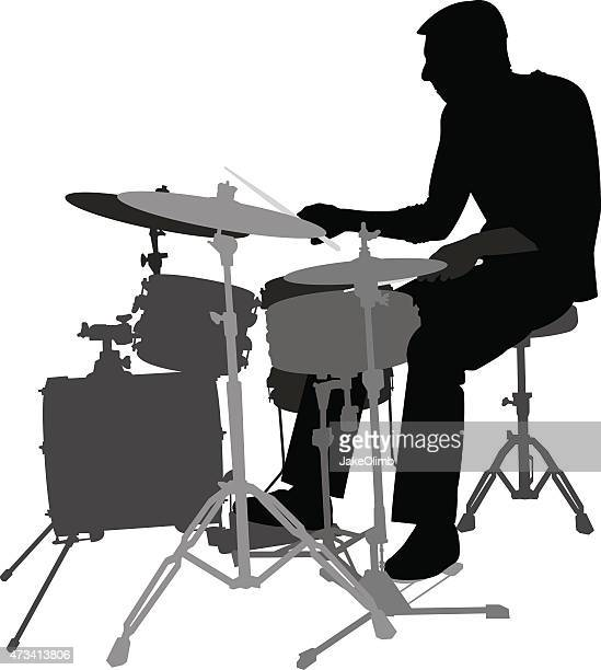 drum player silhouette - snare drum stock illustrations, clip art, cartoons, & icons