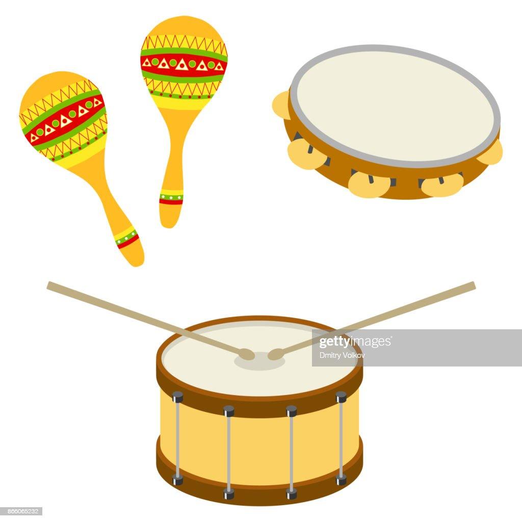Drum, tambourine, maracas. Musical percussion instruments
