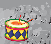 drum with musical notes
