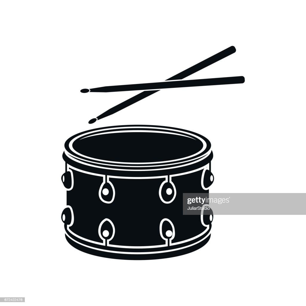 Drum with sticks icon, black simple style