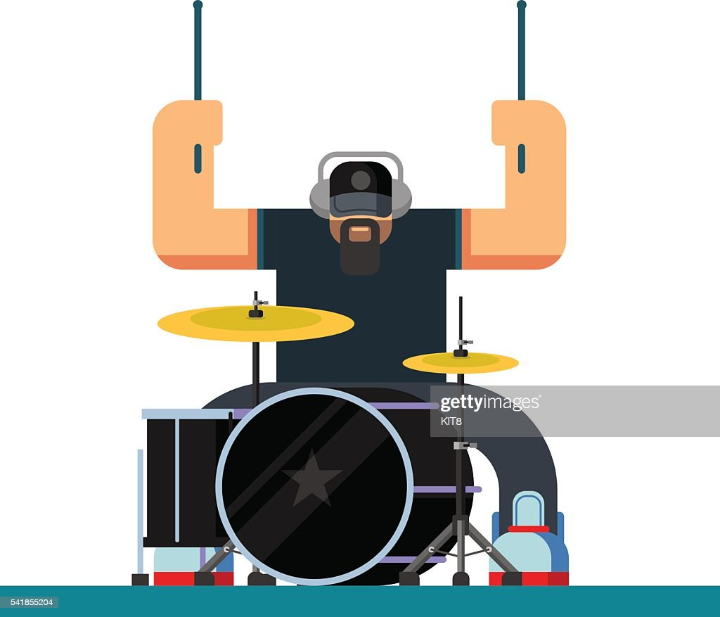 Drummer character flat illustration