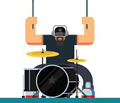 Drummer character flat illustration
