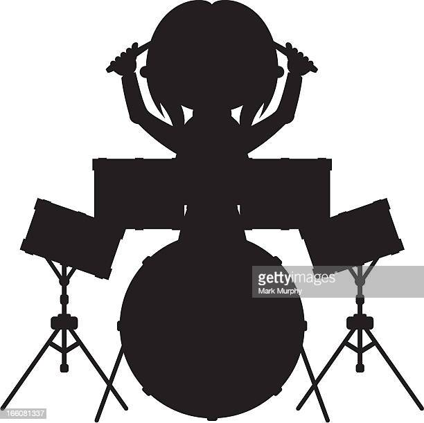 drummer silhouette - snare drum stock illustrations, clip art, cartoons, & icons