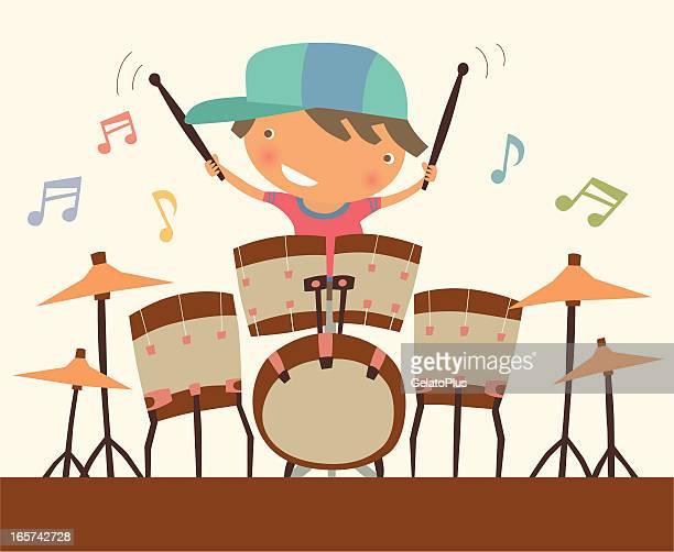 drummer - drum percussion instrument stock illustrations, clip art, cartoons, & icons