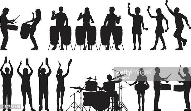 drummers and other percussionists - snare drum stock illustrations, clip art, cartoons, & icons