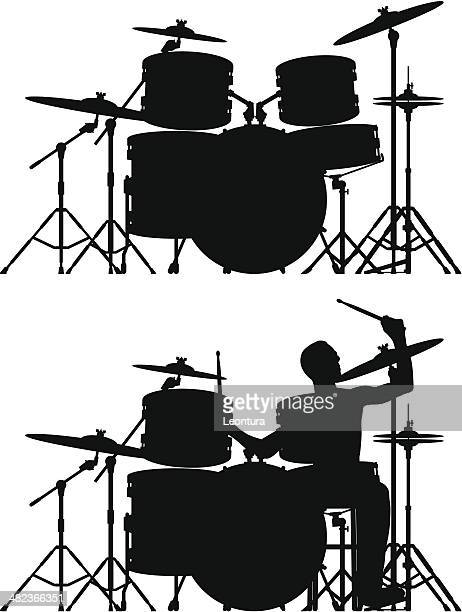 drums and drummer (each drum is moveable and complete) - drum kit stock illustrations