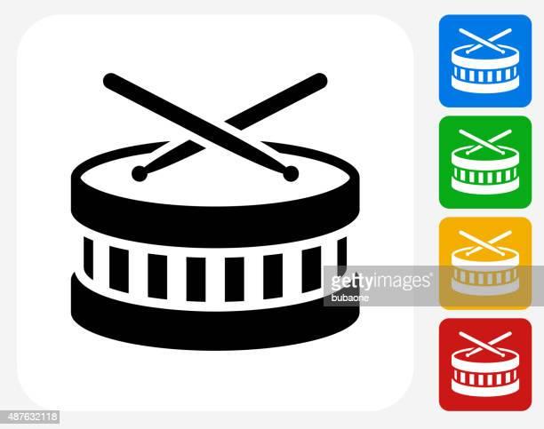 drums icon flat graphic design - drum percussion instrument stock illustrations, clip art, cartoons, & icons