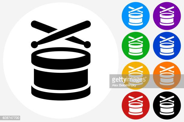 drums icon on flat color circle buttons - drum percussion instrument stock illustrations, clip art, cartoons, & icons