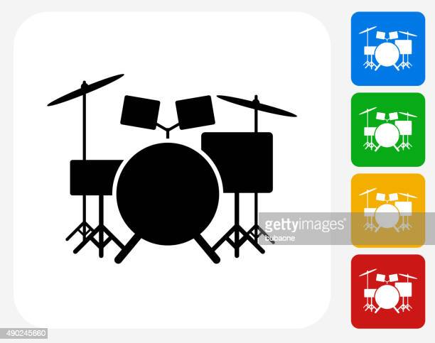 drums instrument icon flat graphic design - drum kit stock illustrations