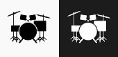 Drums Instrument Icon on Black and White Vector Backgrounds
