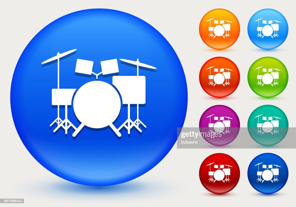 Drums Instrument Icon on Shiny Color Circle Buttons