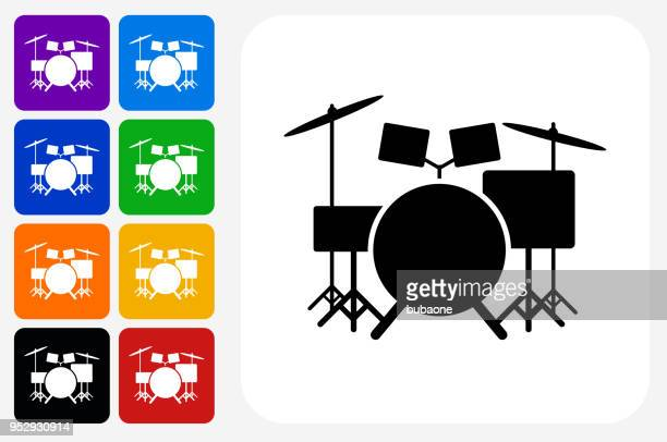 drums instrument icon square button set - drum kit stock illustrations