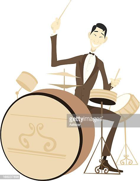 drums player - snare drum stock illustrations, clip art, cartoons, & icons