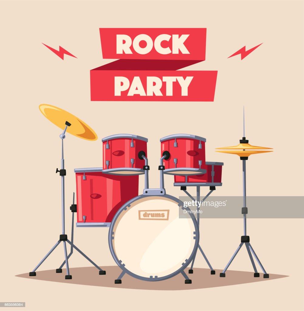 Drums. Rock music. Cartoon vector illustration.