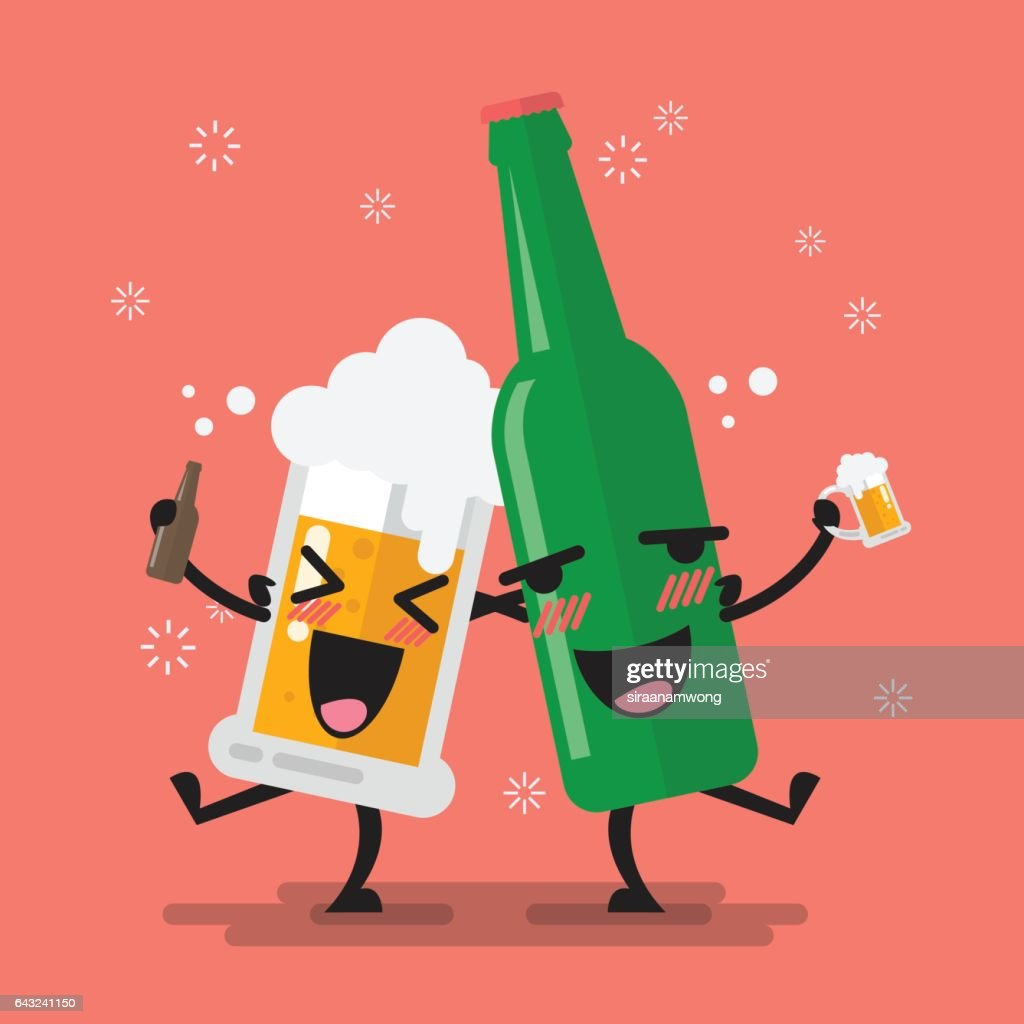 Drunk beer glass and bottle character