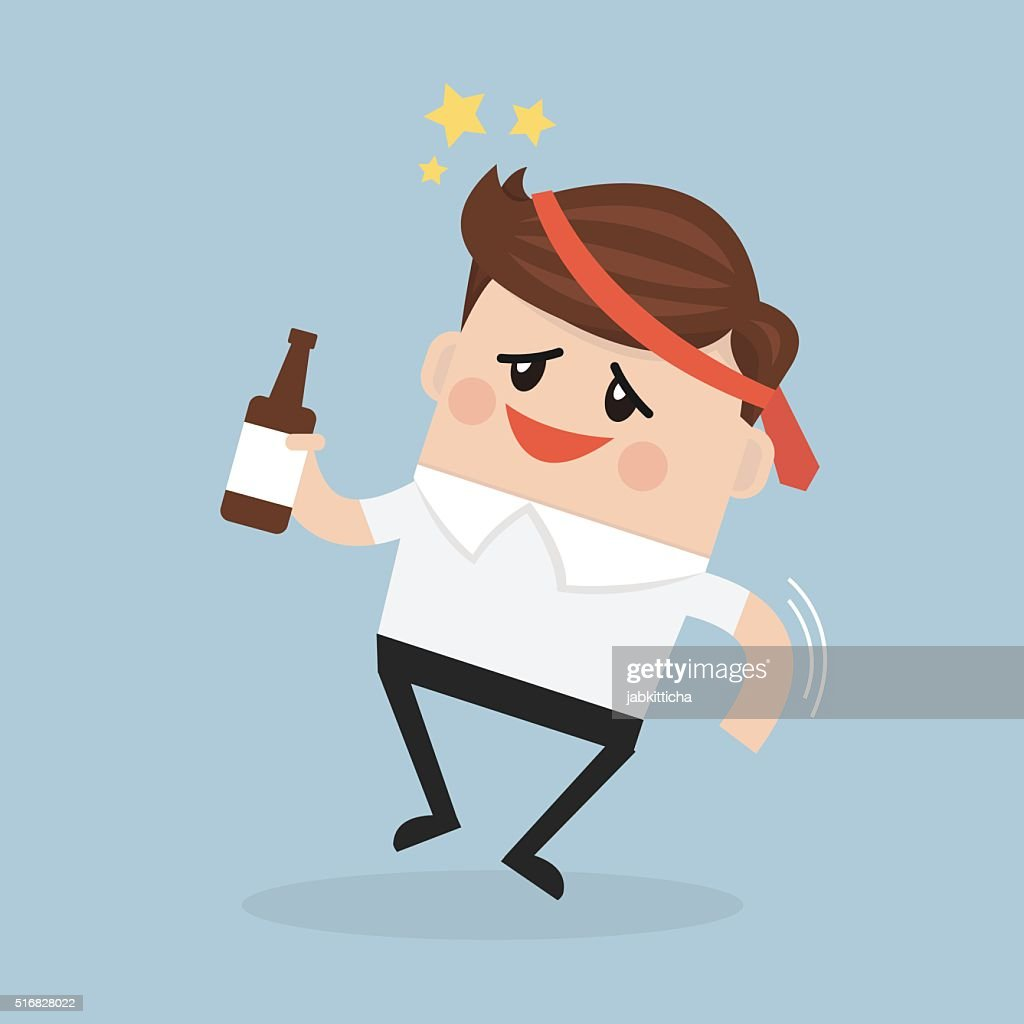 Drunk Businessman with alcohol bottle.
