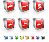Drunk Driving Accident 3D vector icon set with Metal Rim