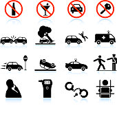 Drunk Driving and Consequences black & white vector icon set
