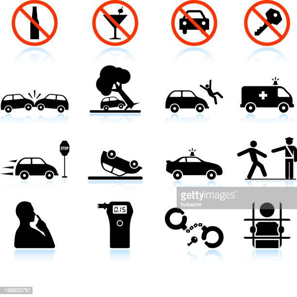drunk driving and consequences black & white vector icon set - graphic car accidents stock illustrations