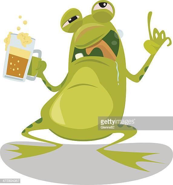 drunk frog - webbed foot stock illustrations, clip art, cartoons, & icons