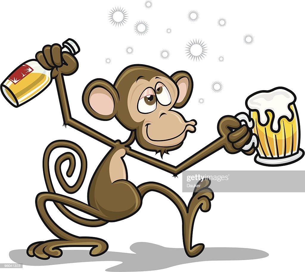 Drunk Monkey - Circus Icons - Vector Illustration