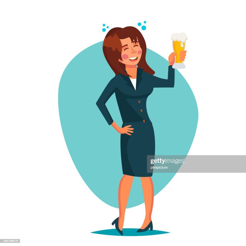 Betrunken Buro Frau Vektor Firmenfeier Lustige Entspannende Konzept