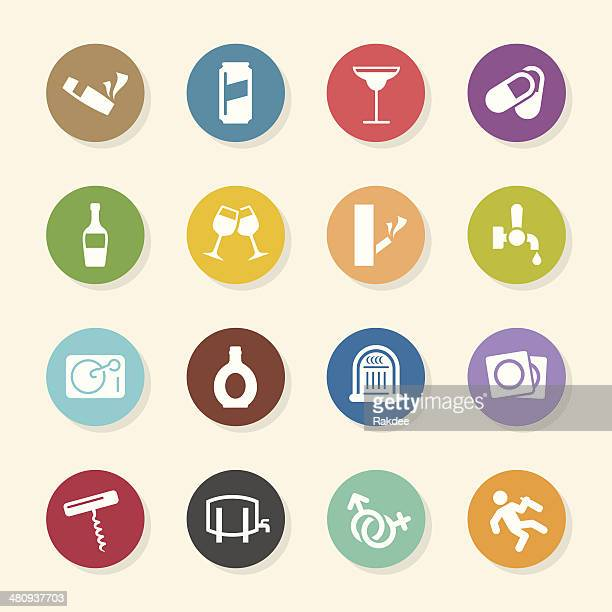 drunk party icons set 2 - color circle series - bong stock illustrations, clip art, cartoons, & icons