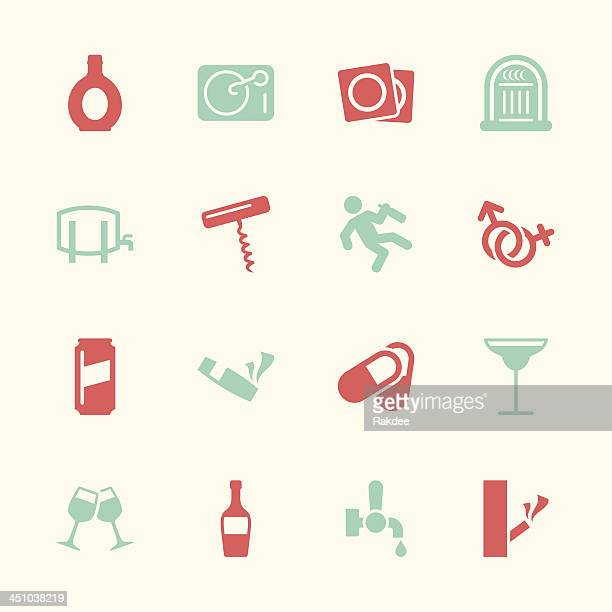 drunk party icons set 2 - color series | eps10 - condom stock illustrations