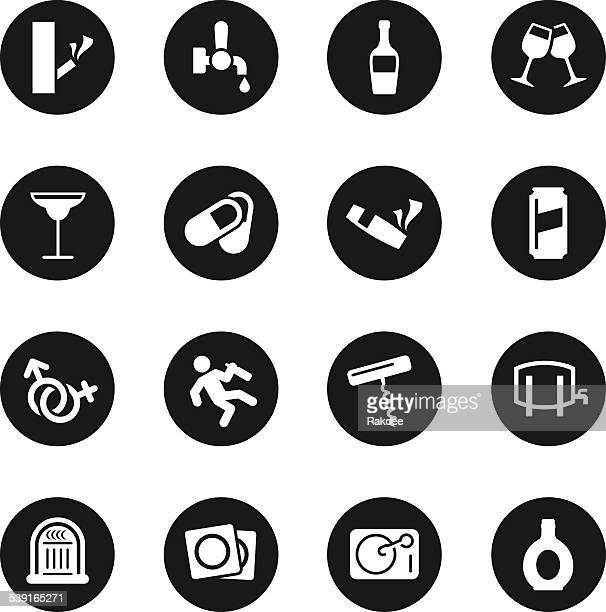 drunk party icons set - black circle series - bong stock illustrations, clip art, cartoons, & icons