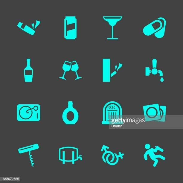 drunk party icons - condom stock illustrations