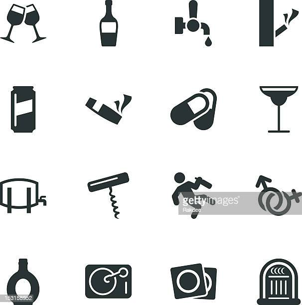 drunk party silhouette icons | set 2 - recreational drug stock illustrations, clip art, cartoons, & icons
