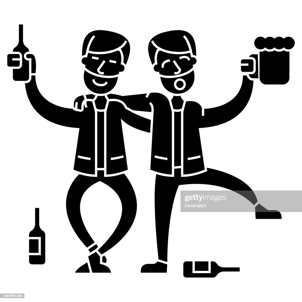 drunk people, two men drinking  icon, vector illustration, sign on isolated background