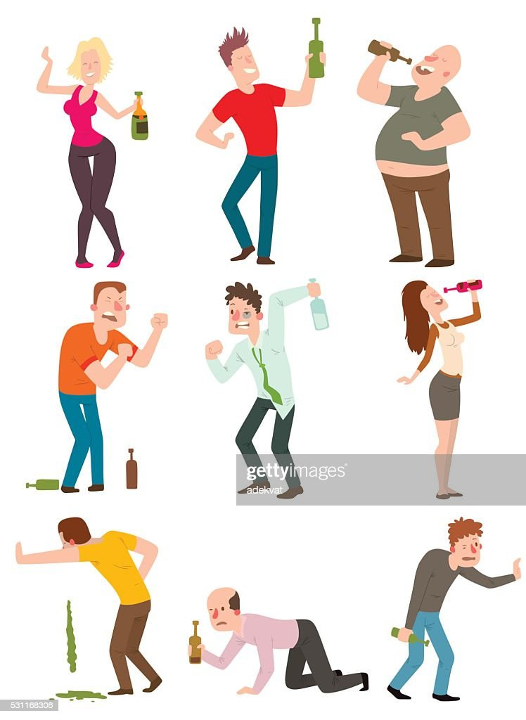 Drunk people vector illustration