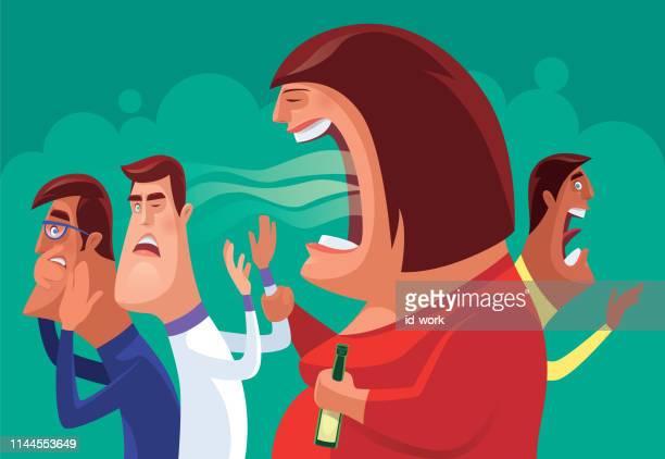 drunk woman shouting at men - fat female cartoon characters stock illustrations