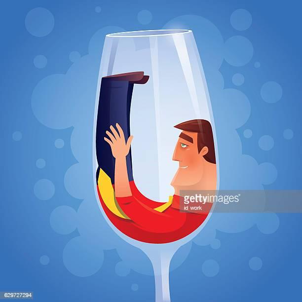 drunken businessman with wine glass
