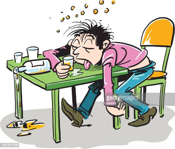 Drunken man sleeping on a table. Concept male alcoholism. Sleeping drunk human. Heavy alcohol intoxication