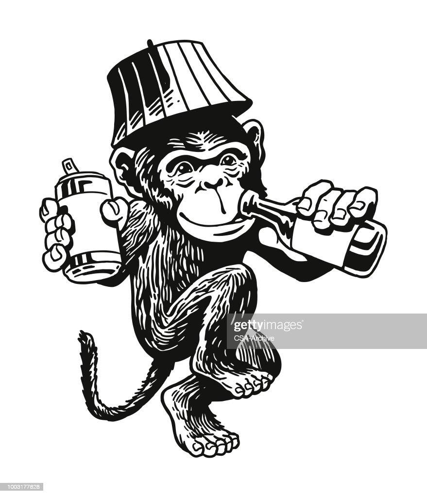 Drunken Monkey : stock illustration