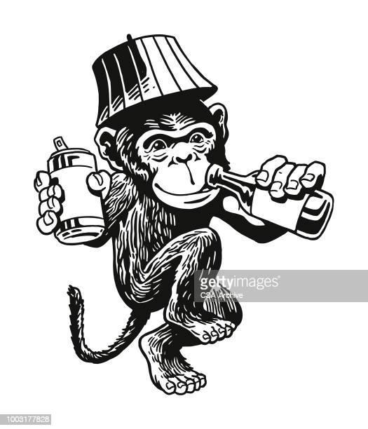 drunken monkey - chimpanzee stock-grafiken, -clipart, -cartoons und -symbole
