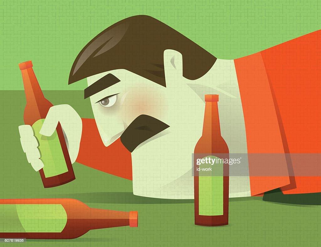 drunker with beer bottles